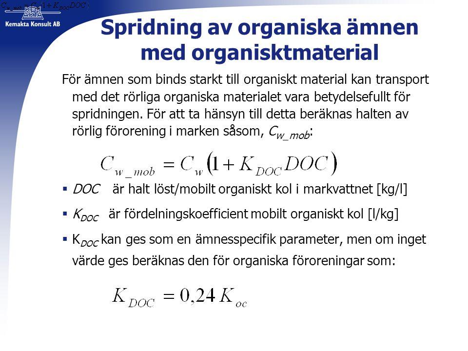 Spridning av organiska ämnen med organisktmaterial För ämnen som binds starkt till organiskt material kan transport med det rörliga organiska material