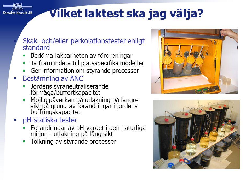 Vilket laktest ska jag välja?  Skak- och/eller perkolationstester enligt standard  Bedöma lakbarheten av föroreningar  Ta fram indata till platsspe