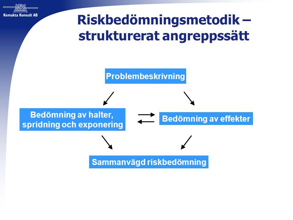 Riskbedömningsmetodik – strukturerat angreppssätt Problembeskrivning Bedömning av halter, spridning och exponering Bedömning av effekter Sammanvägd ri