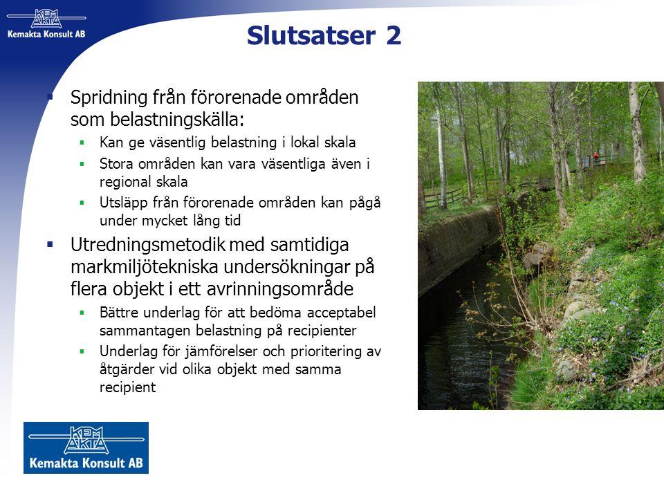 Slutsatser 2  Spridning från förorenade områden som belastningskälla:  Kan ge väsentlig belastning i lokal skala  Stora områden kan vara väsentliga