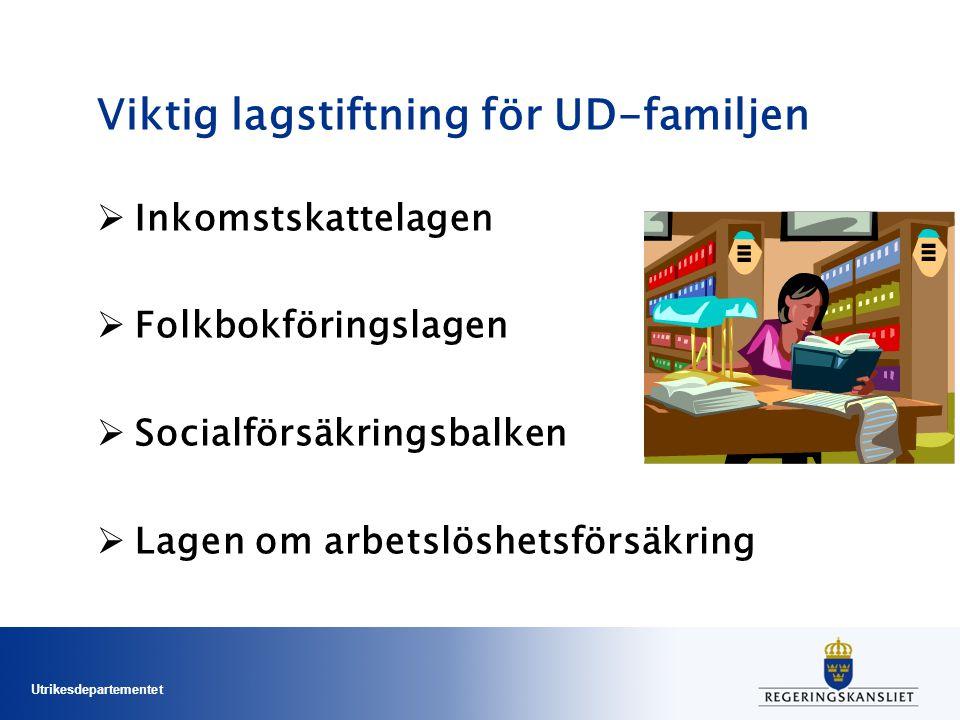 Utrikesdepartementet Viktig lagstiftning för UD-familjen  Inkomstskattelagen  Folkbokföringslagen  Socialförsäkringsbalken  Lagen om arbetslöshetsförsäkring