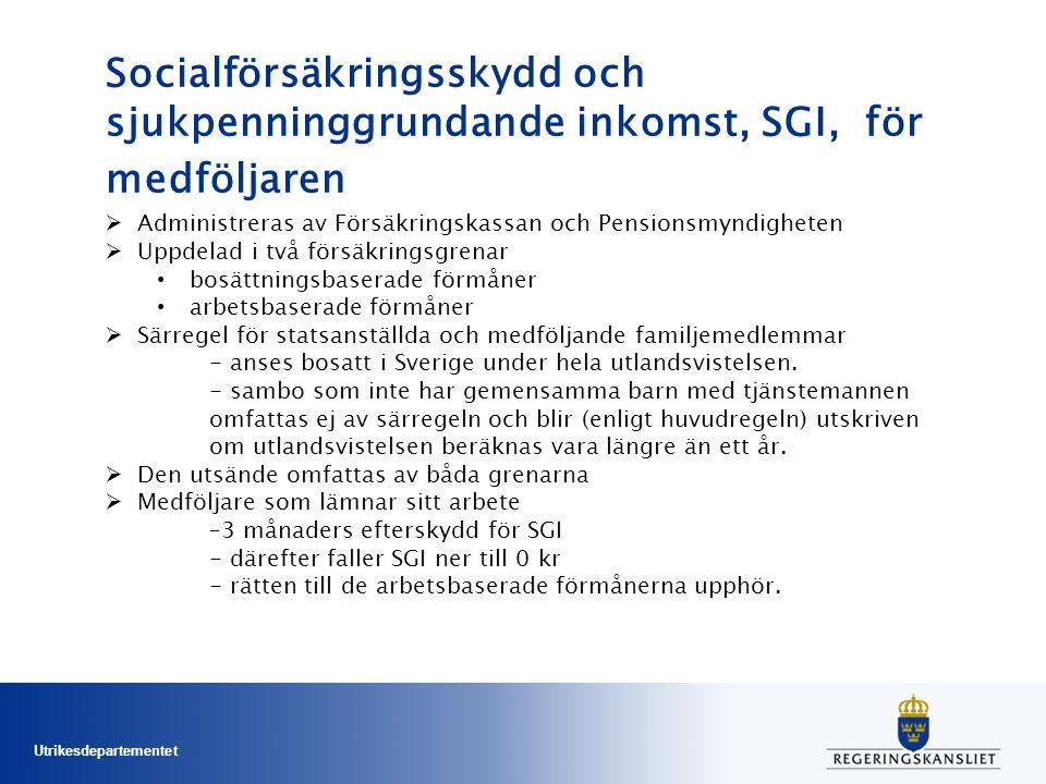 Utrikesdepartementet Socialförsäkringsskydd och sjukpenninggrundande inkomst, SGI, för medföljaren  Administreras av Försäkringskassan och Pensionsmyndigheten  Uppdelad i två försäkringsgrenar bosättningsbaserade förmåner arbetsbaserade förmåner  Särregel för statsanställda och medföljande familjemedlemmar - anses bosatt i Sverige under hela utlandsvistelsen.