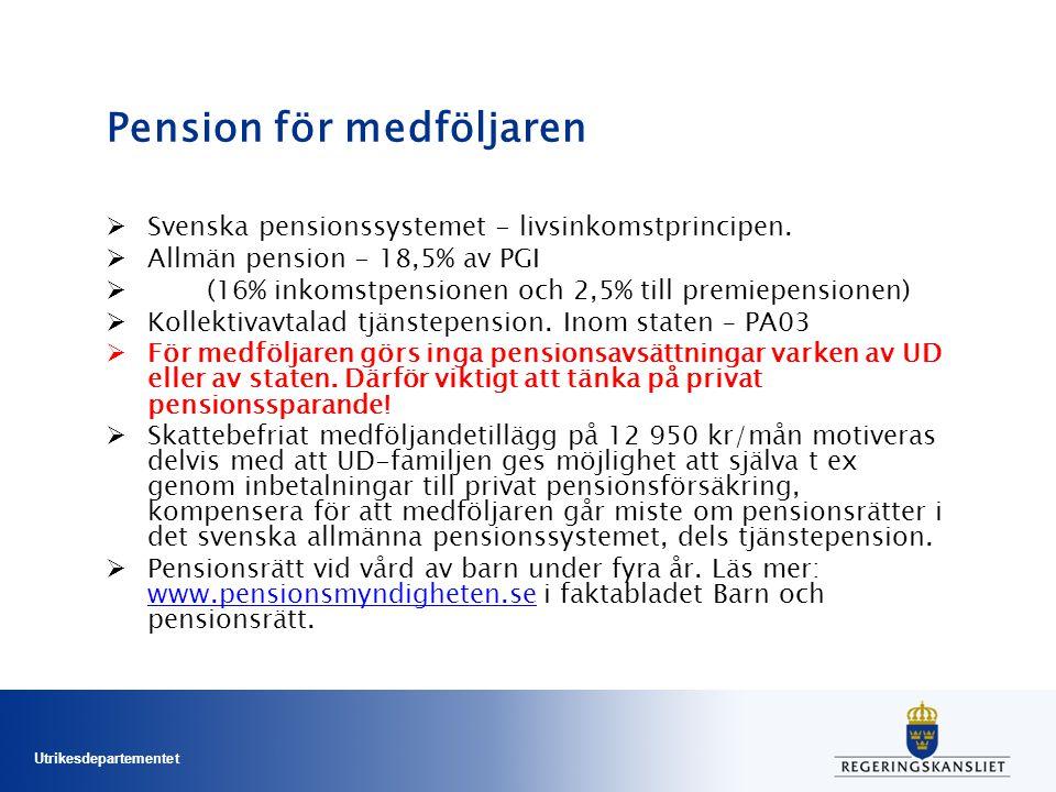 Utrikesdepartementet Pension för medföljaren  Svenska pensionssystemet - livsinkomstprincipen.