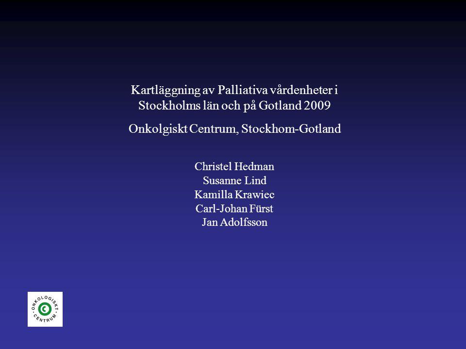 Uppföljning av rapporten 2004 Samma frågor + några till Till alla enheter/verksamheter som bedriver palliativ vård Gotland är med (2 enheter) SLL 18 verksamheter varav 11 med både palliativ slutenvård och ASIH-team