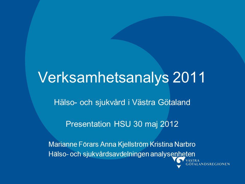 Verksamhetsanalys 2011 Hälso- och sjukvård i Västra Götaland Presentation HSU 30 maj 2012 Marianne Förars Anna Kjellström Kristina Narbro Hälso- och sjukvårdsavdelningen analysenheten