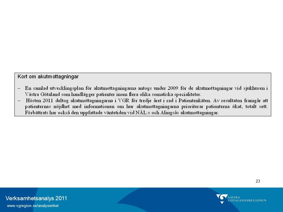 Verksamhetsanalys 2011 www.vgregion.se/analysenhet 23