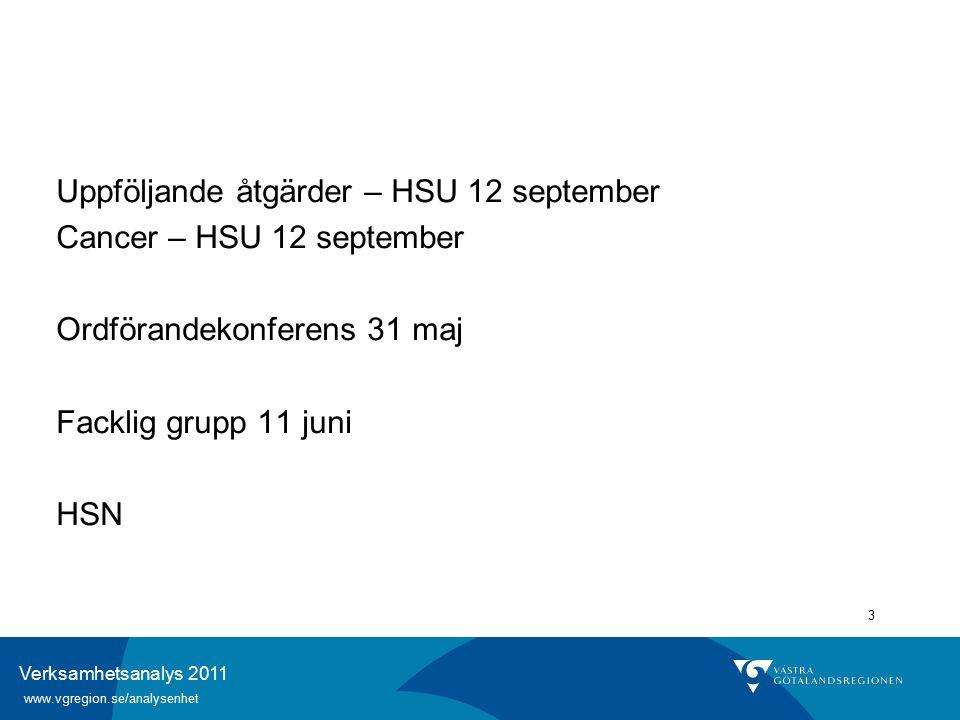 Verksamhetsanalys 2011 www.vgregion.se/analysenhet 3 Uppföljande åtgärder – HSU 12 september Cancer – HSU 12 september Ordförandekonferens 31 maj Facklig grupp 11 juni HSN