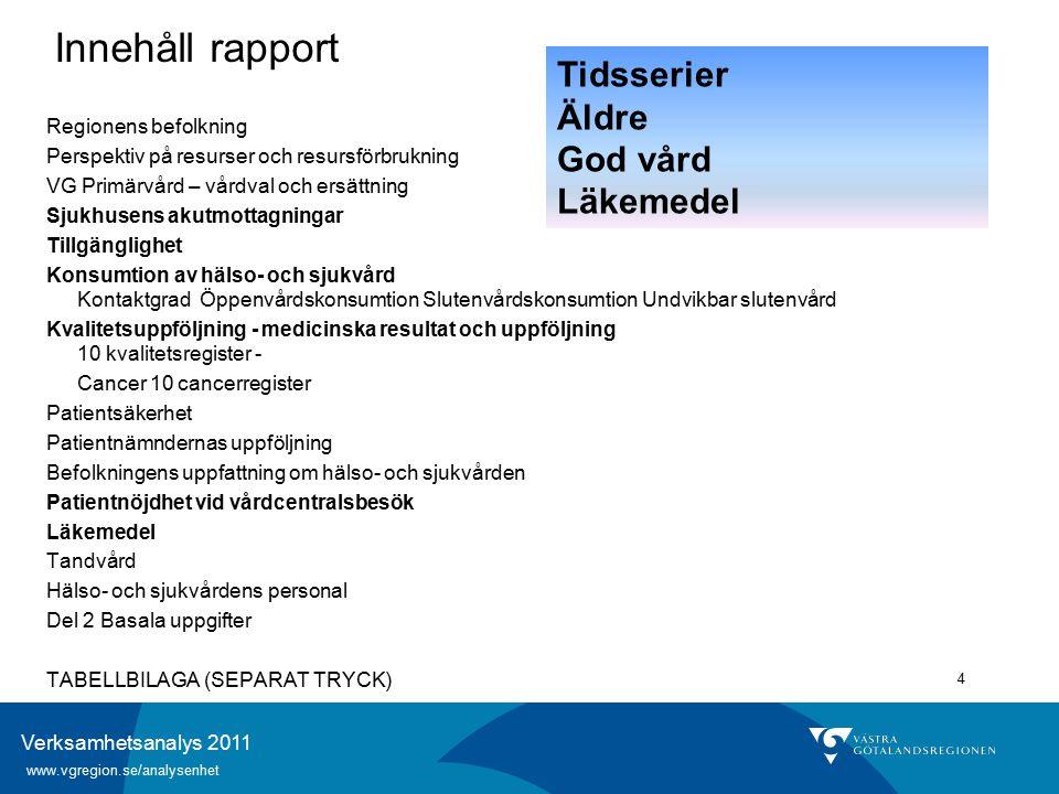 Verksamhetsanalys 2011 www.vgregion.se/analysenhet 5 Regionens befolkning