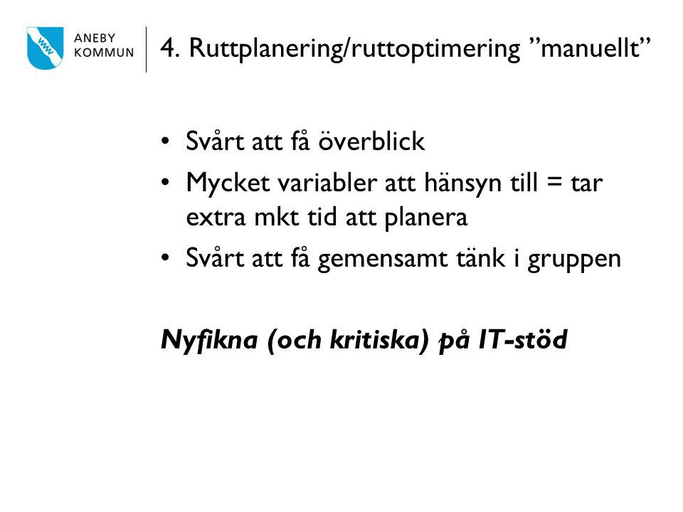 """4. Ruttplanering/ruttoptimering """"manuellt"""" Svårt att få överblick Mycket variabler att hänsyn till = tar extra mkt tid att planera Svårt att få gemens"""