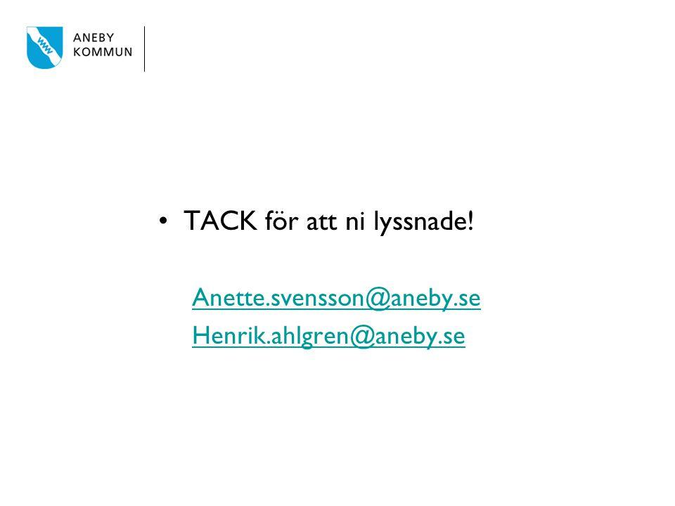 TACK för att ni lyssnade! Anette.svensson@aneby.se Henrik.ahlgren@aneby.se