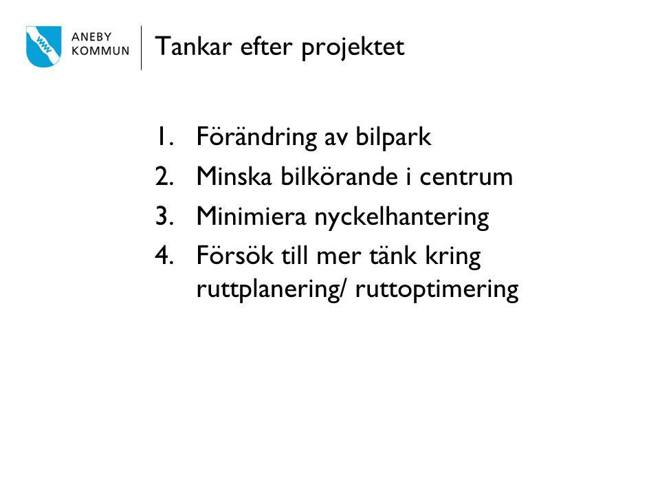 Tankar efter projektet 1.Förändring av bilpark 2.Minska bilkörande i centrum 3.Minimiera nyckelhantering 4.Försök till mer tänk kring ruttplanering/ r