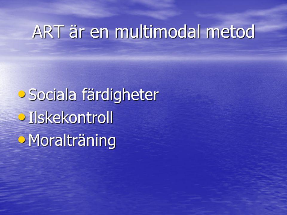 ART är en multimodal metod Sociala färdigheter Sociala färdigheter Ilskekontroll Ilskekontroll Moralträning Moralträning