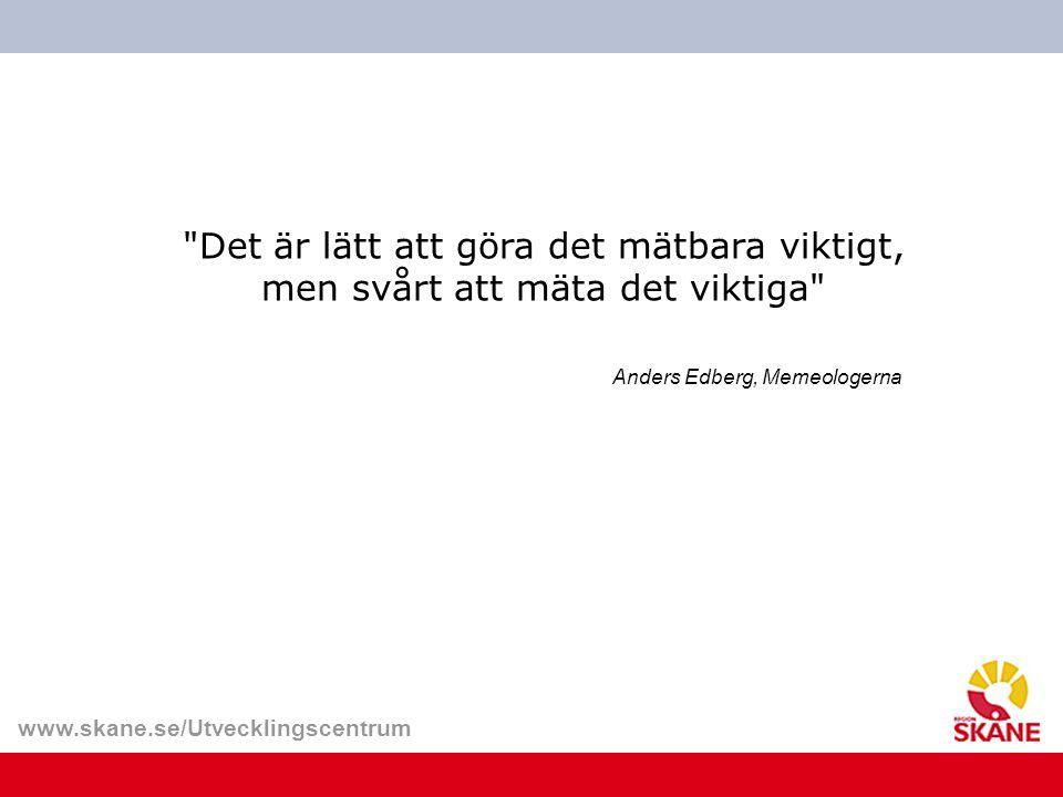 www.skane.se/Utvecklingscentrum Ordning Komplexitet Det riktigt viktiga Det som verkar enkelt Källa: Hans Sarv