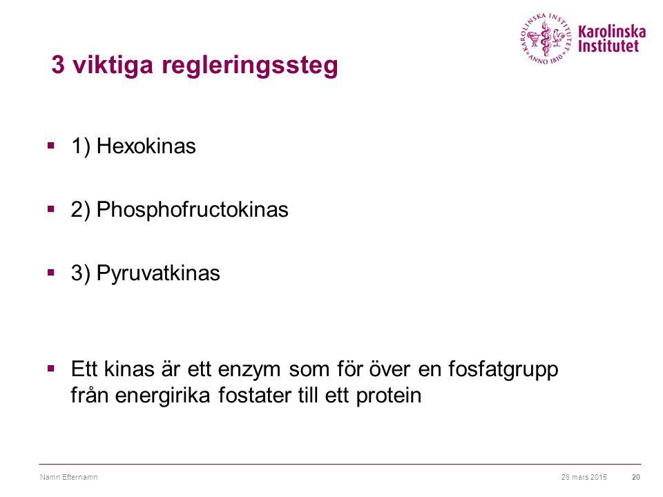 26 mars 2015Namn Efternamn20 3 viktiga regleringssteg  1) Hexokinas  2) Phosphofructokinas  3) Pyruvatkinas  Ett kinas är ett enzym som för över e