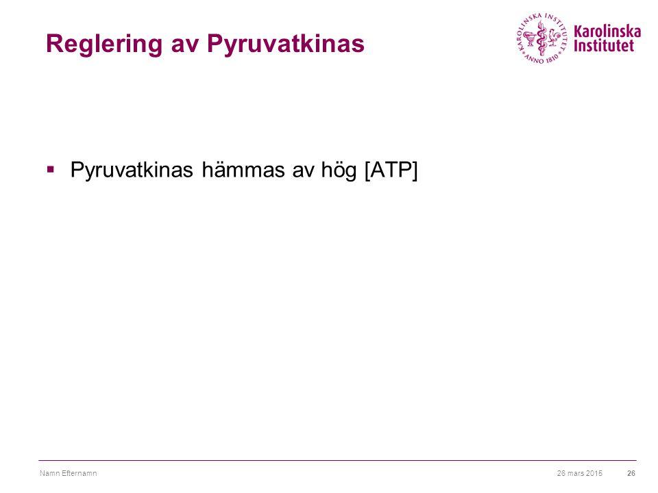 26 mars 2015Namn Efternamn26 Reglering av Pyruvatkinas  Pyruvatkinas hämmas av hög [ATP]