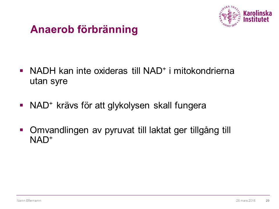 26 mars 2015Namn Efternamn29 Anaerob förbränning  NADH kan inte oxideras till NAD + i mitokondrierna utan syre  NAD + krävs för att glykolysen skall