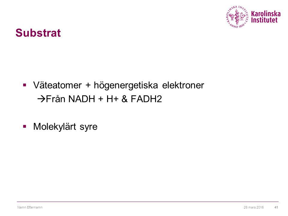 26 mars 2015Namn Efternamn41 Substrat  Väteatomer + högenergetiska elektroner  Från NADH + H+ & FADH2  Molekylärt syre