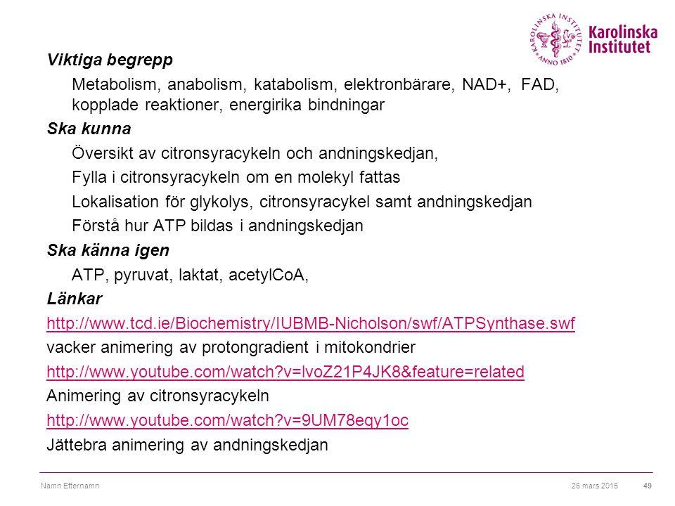 26 mars 2015Namn Efternamn49 Viktiga begrepp Metabolism, anabolism, katabolism, elektronbärare, NAD+, FAD, kopplade reaktioner, energirika bindningar