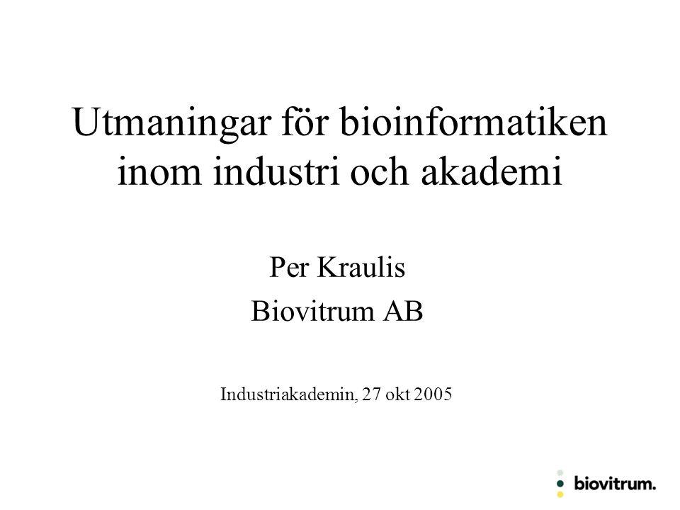 Utmaningar för bioinformatiken inom industri och akademi Per Kraulis Biovitrum AB Industriakademin, 27 okt 2005