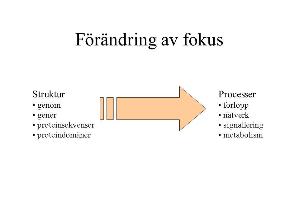 Förändring av fokus Struktur genom gener proteinsekvenser proteindomäner Processer förlopp nätverk signallering metabolism