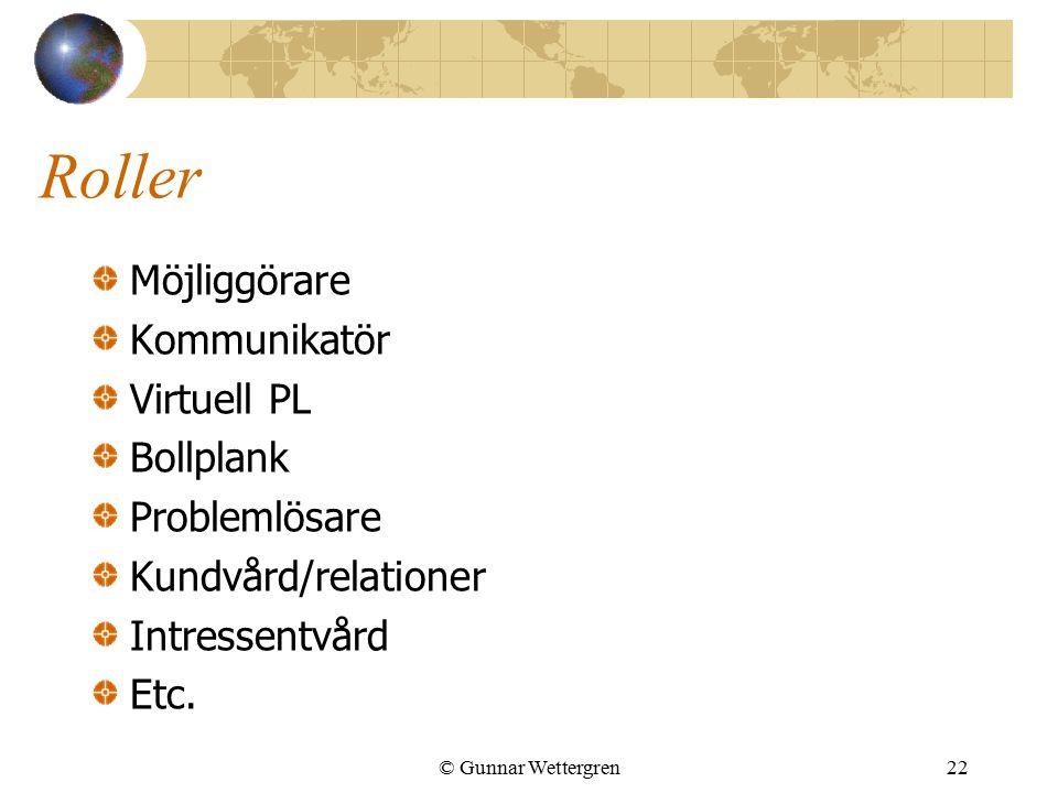 © Gunnar Wettergren22 Roller Möjliggörare Kommunikatör Virtuell PL Bollplank Problemlösare Kundvård/relationer Intressentvård Etc.
