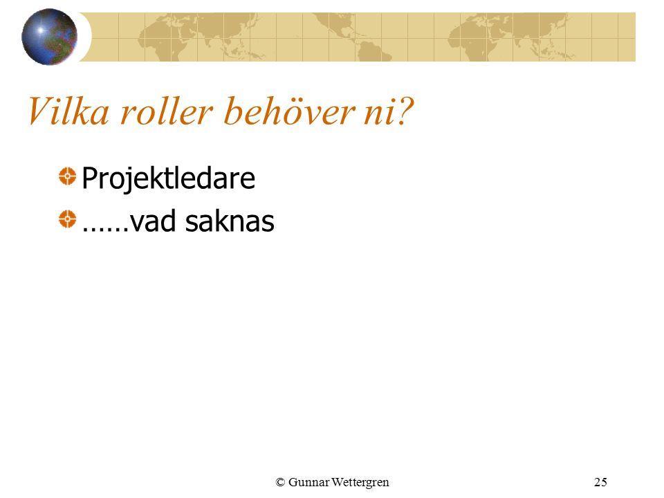 Vilka roller behöver ni? Projektledare ……vad saknas © Gunnar Wettergren25