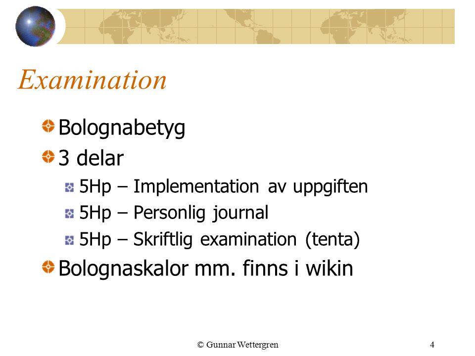 Examination Bolognabetyg 3 delar 5Hp – Implementation av uppgiften 5Hp – Personlig journal 5Hp – Skriftlig examination (tenta) Bolognaskalor mm. finns