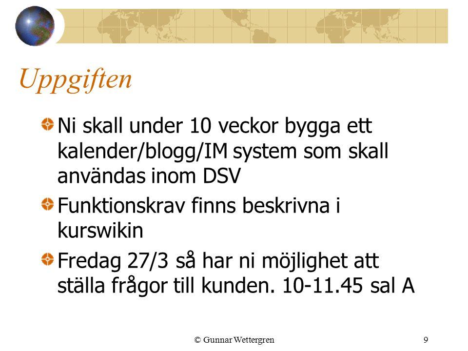 Uppgiften Ni skall under 10 veckor bygga ett kalender/blogg/IM system som skall användas inom DSV Funktionskrav finns beskrivna i kurswikin Fredag 27/
