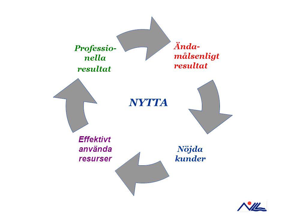 Nöjda kunder Effektivt använda resurser Professio- nella resultat NYTTA Ända- målsenligt resultat