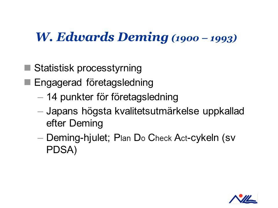 W. Edwards Deming (1900 – 1993) Statistisk processtyrning Engagerad företagsledning –14 punkter för företagsledning –Japans högsta kvalitetsutmärkelse