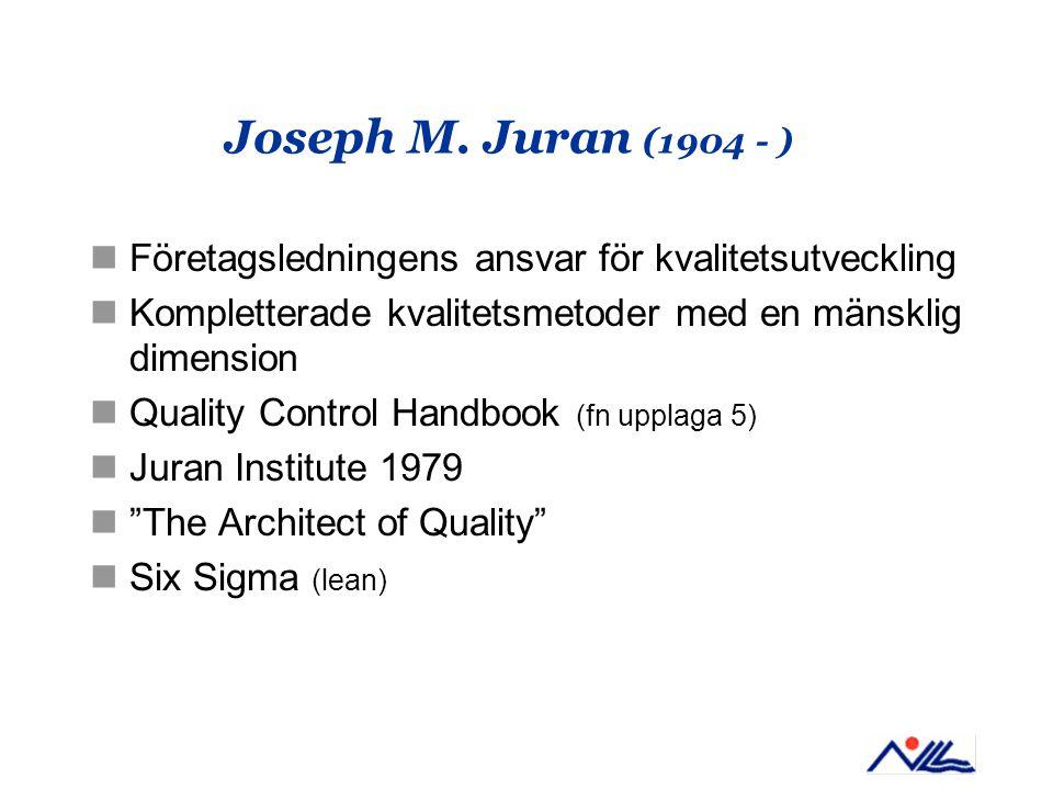Joseph M. Juran (1904 - ) Företagsledningens ansvar för kvalitetsutveckling Kompletterade kvalitetsmetoder med en mänsklig dimension Quality Control H