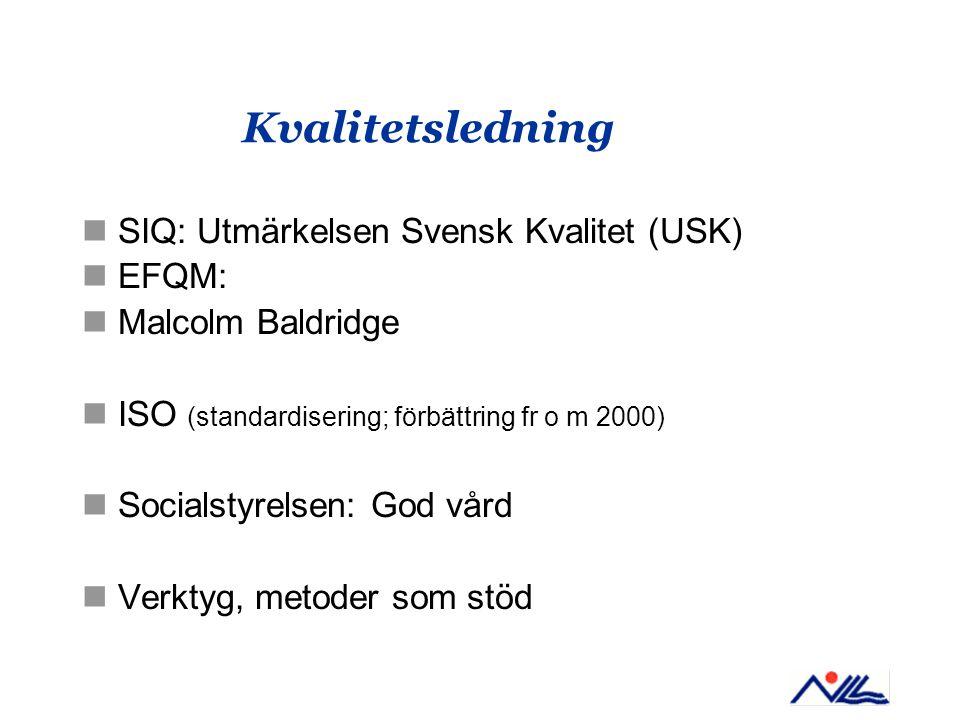 Kvalitetsledning SIQ: Utmärkelsen Svensk Kvalitet (USK) EFQM: Malcolm Baldridge ISO (standardisering; förbättring fr o m 2000) Socialstyrelsen: God vå