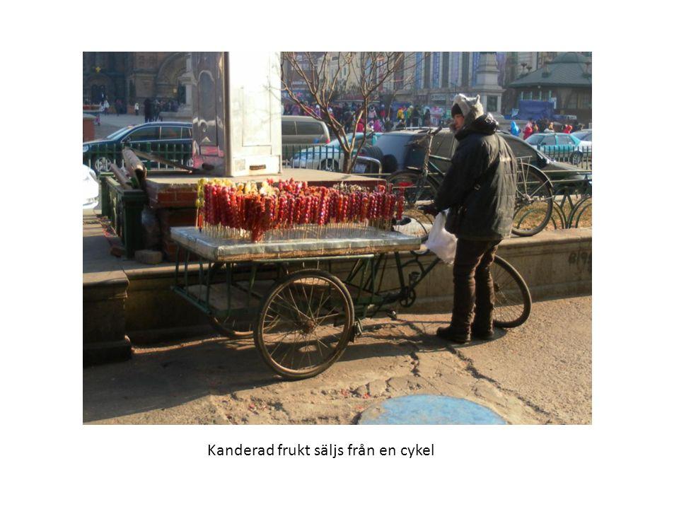 Kanderad frukt säljs från en cykel