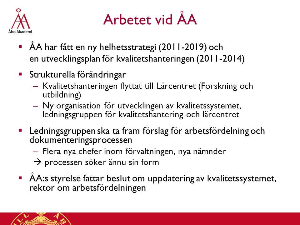 Arbetet vid ÅA  ÅA har fått en ny helhetsstrategi (2011-2019) och en utvecklingsplan för kvalitetshanteringen (2011-2014)  Strukturella förändringar