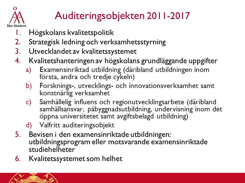 Auditeringsobjekten 2011-2017 1.Högskolans kvalitetspolitik 2.Strategisk ledning och verksamhetsstyrning 3.Utvecklandet av kvalitetssystemet 4.Kvalitetshanteringen av högskolans grundläggande uppgifter a)Examensinriktad utbildning (däribland utbildningen inom första, andra och tredje cykeln) b)Forsknings-, utvecklings- och innovationsverksamhet samt konstnärlig verksamhet c)Samhällelig influens och regionutvecklingsarbete (däribland samhällsansvar, påbyggnadsutbildning, undervisning inom det öppna universitetet samt avgiftsbelagd utbildning) d)Valfritt auditeringsobjekt 5.Bevisen i den examensinriktade utbildningen: utbildningsprogram eller motsvarande examensinriktade studiehelheter 6.Kvalitetssystemet som helhet