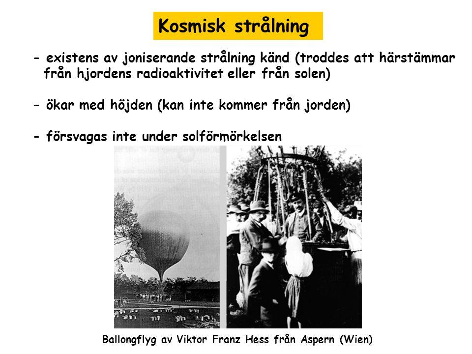 Kosmisk strålning - existens av joniserande strålning känd (troddes att härstämmar från hjordens radioaktivitet eller från solen) - ökar med höjden (k