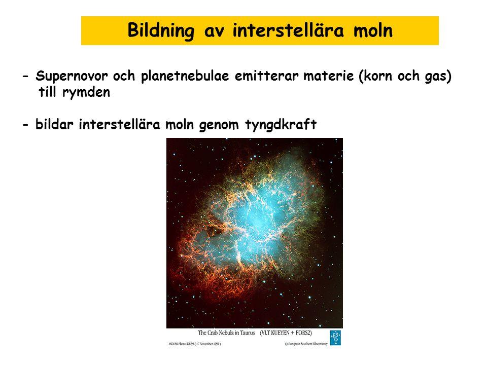 Bildning av interstellära moln - Supernovor och planetnebulae emitterar materie (korn och gas) till rymden - bildar interstellära moln genom tyngdkraf