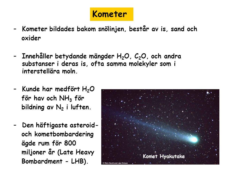 –Kometer bildades bakom snölinjen, består av is, sand och oxider –Innehåller betydande mängder H 2 O, C 2 O, och andra substanser i deras is, ofta sam