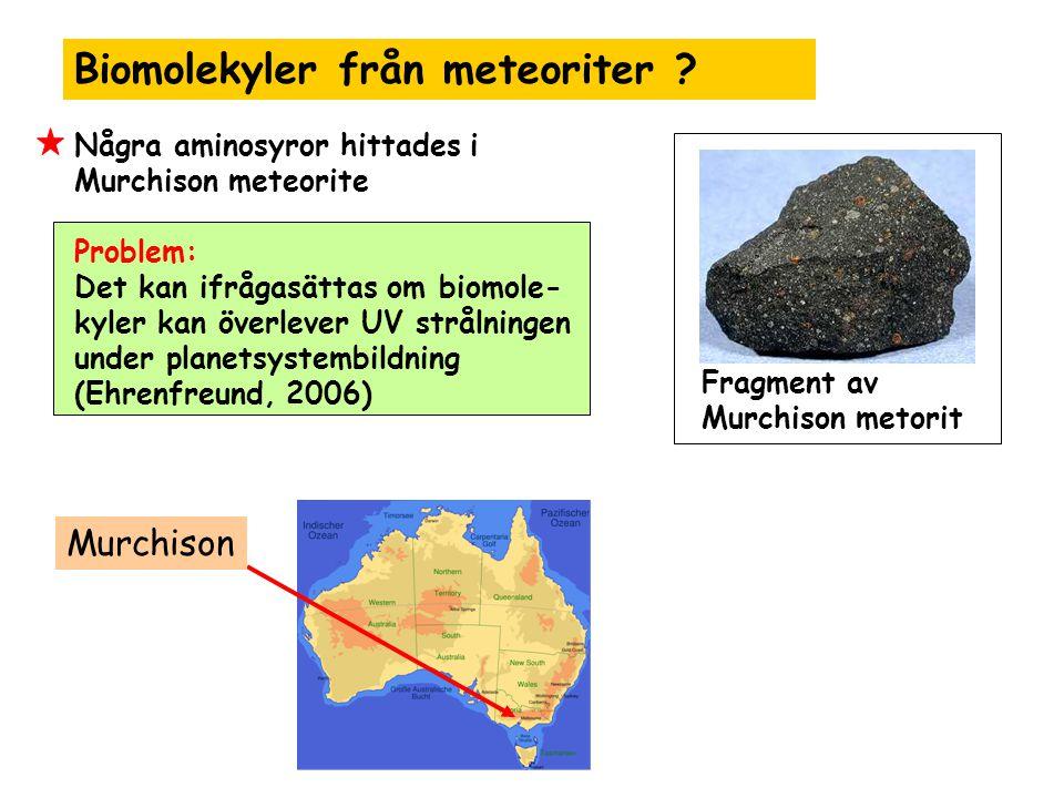 Biomolekyler från meteoriter ? Några aminosyror hittades i Murchison meteorite Problem: Det kan ifrågasättas om biomole- kyler kan överlever UV stråln