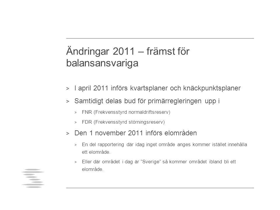 Ändringar 2011 – främst för balansansvariga > I april 2011 införs kvartsplaner och knäckpunktsplaner > Samtidigt delas bud för primärregleringen upp i