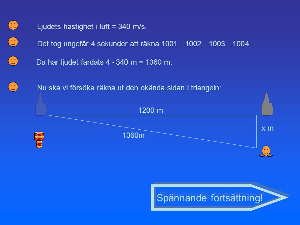 Det tog ungefär 4 sekunder att räkna 1001…1002…1003…1004. Spännande fortsättning! Ljudets hastighet i luft = 340 m/s. Då har ljudet färdats 4  340 m