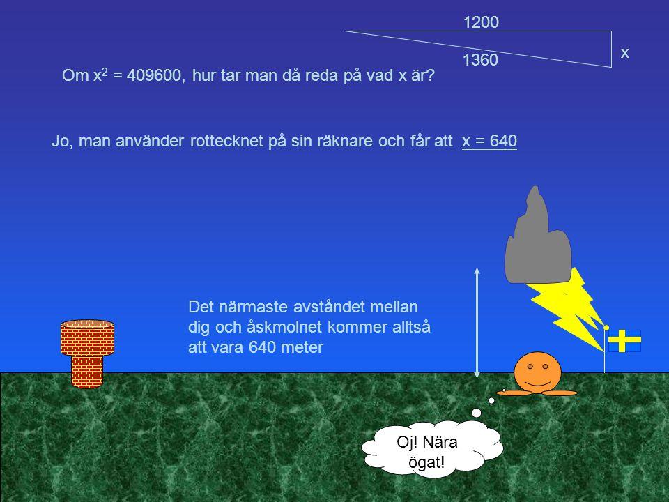 Om x 2 = 409600, hur tar man då reda på vad x är? Det närmaste avståndet mellan dig och åskmolnet kommer alltså att vara 640 meter Jo, man använder ro