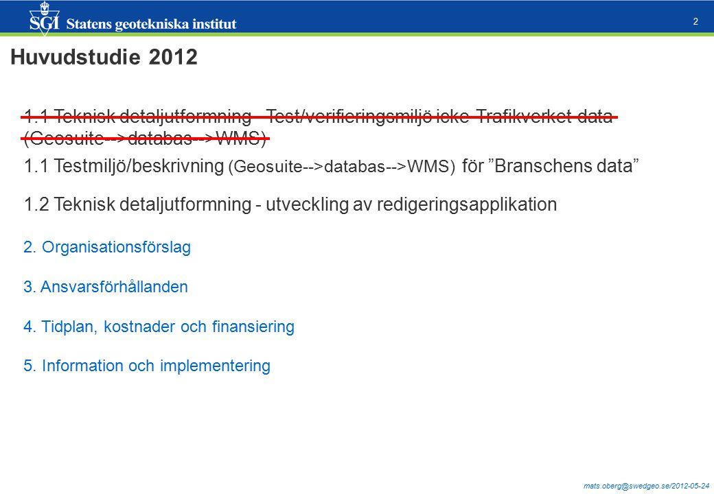 mats.oberg@swedgeo.se/2012-05-24 2 Huvudstudie 2012 1.1 Teknisk detaljutformning - Test/verifieringsmiljö icke-Trafikverket-data (Geosuite-->databas-->WMS) 1.2 Teknisk detaljutformning - utveckling av redigeringsapplikation 2.