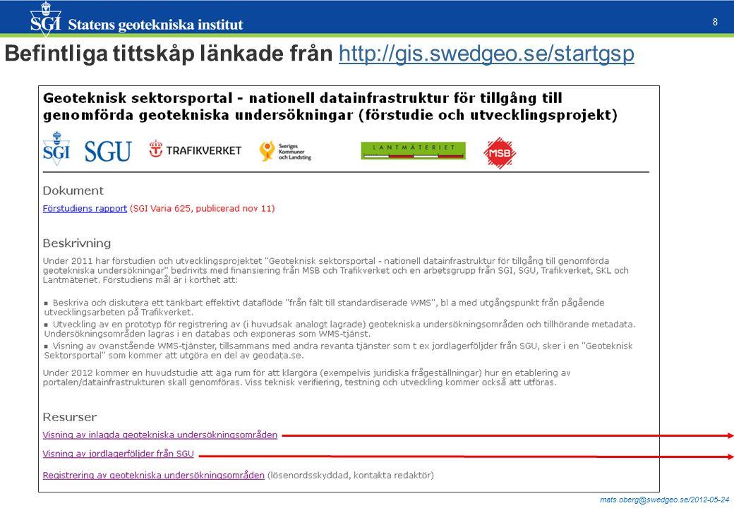 mats.oberg@swedgeo.se/2012-05-24 8 Befintliga tittskåp länkade från http://gis.swedgeo.se/startgsphttp://gis.swedgeo.se/startgsp