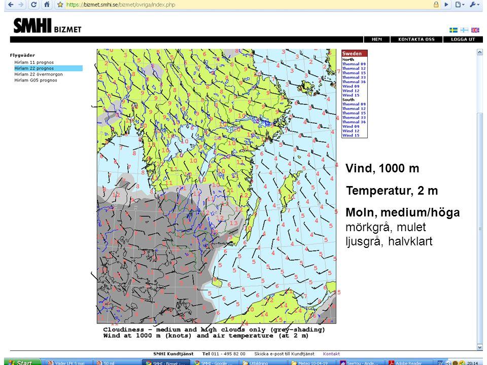 Vind, 1000 m Temperatur, 2 m Moln, medium/höga mörkgrå, mulet ljusgrå, halvklart