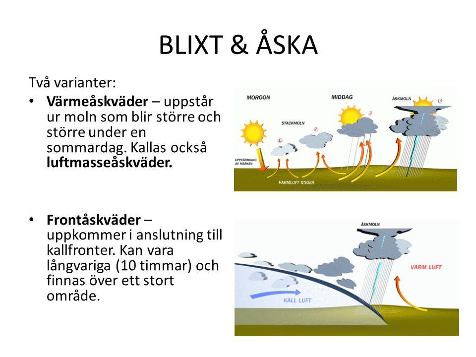 BLIXT & ÅSKA Två varianter: Värmeåskväder – uppstår ur moln som blir större och större under en sommardag.