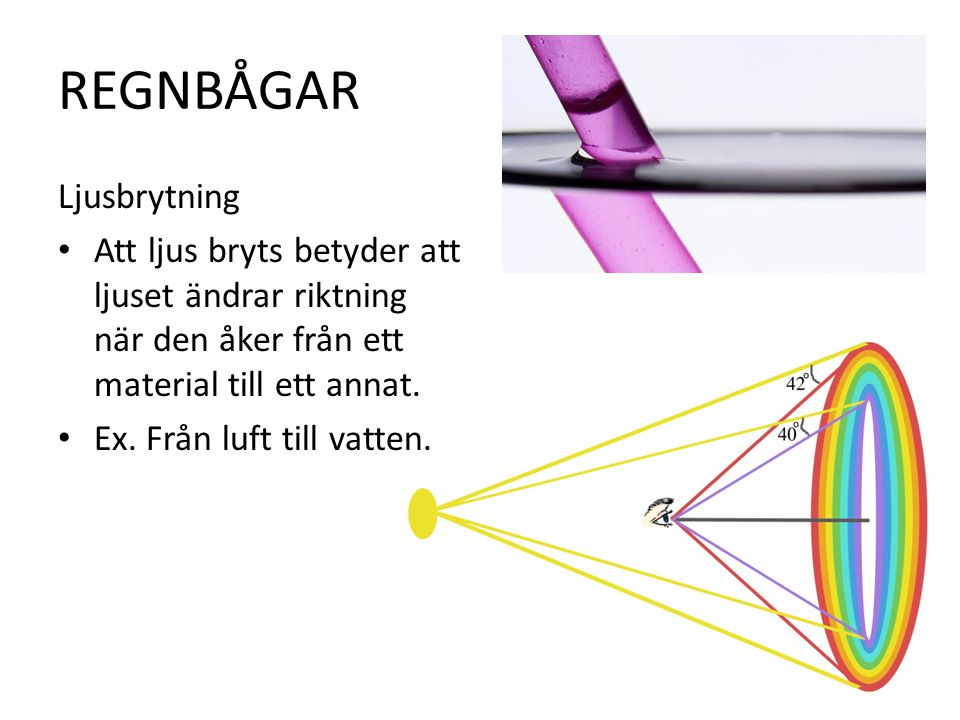 REGNBÅGAR Ljusbrytning Att ljus bryts betyder att ljuset ändrar riktning när den åker från ett material till ett annat.
