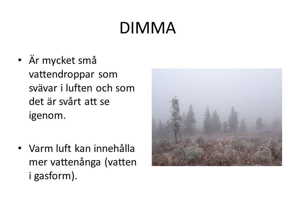 DIMMA Är mycket små vattendroppar som svävar i luften och som det är svårt att se igenom.