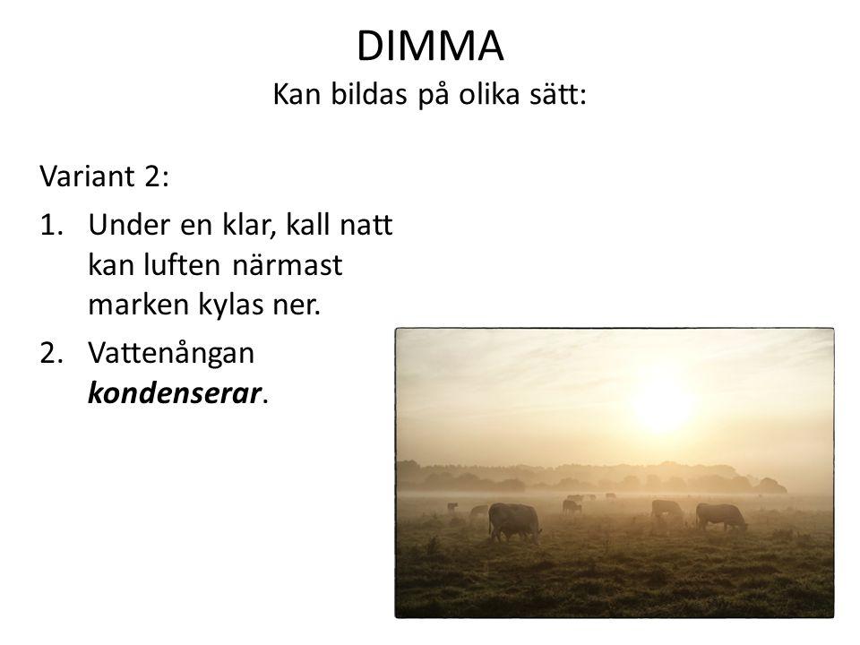 DIMMA Kan bildas på olika sätt: Variant 2: 1.Under en klar, kall natt kan luften närmast marken kylas ner.