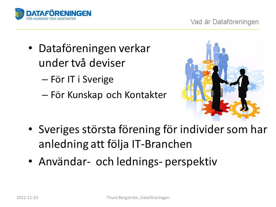 Dataföreningen verkar under två deviser – För IT i Sverige – För Kunskap och Kontakter Sveriges största förening för individer som har anledning att följa IT-Branchen Användar- och lednings- perspektiv Vad är Dataföreningen ____________________________________________________________________________________________________________________________________________ 2012-11-23Thure Bergström, Dataföreningen